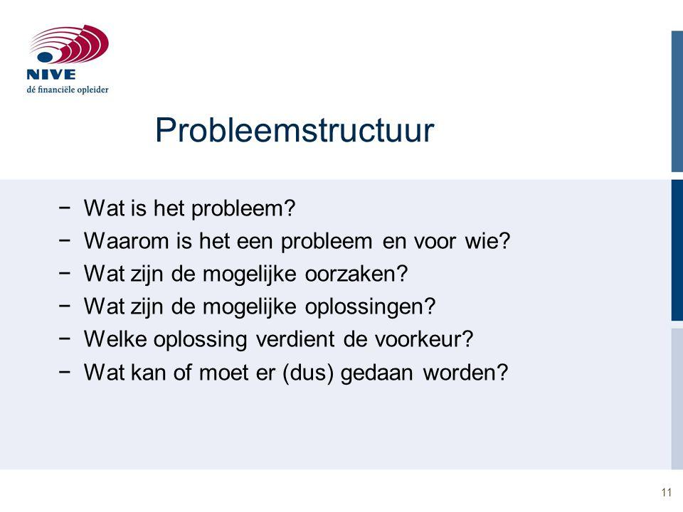11 Probleemstructuur −Wat is het probleem? −Waarom is het een probleem en voor wie? −Wat zijn de mogelijke oorzaken? −Wat zijn de mogelijke oplossinge