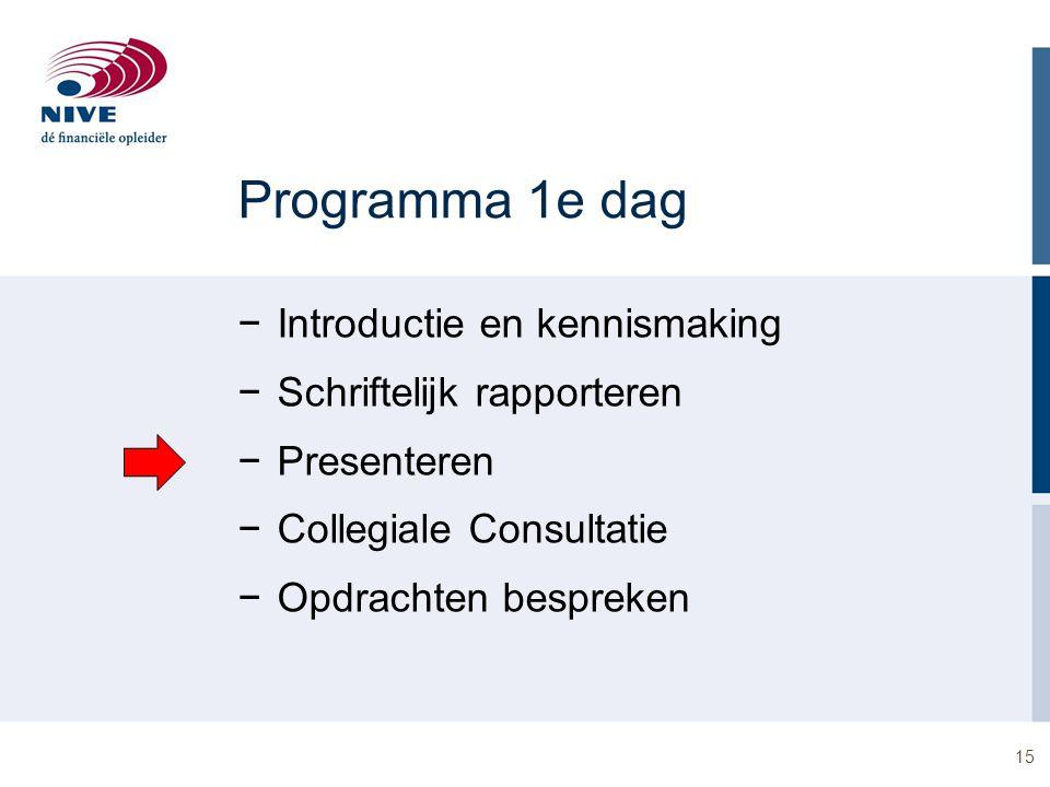 15 Programma 1e dag −Introductie en kennismaking −Schriftelijk rapporteren −Presenteren −Collegiale Consultatie −Opdrachten bespreken