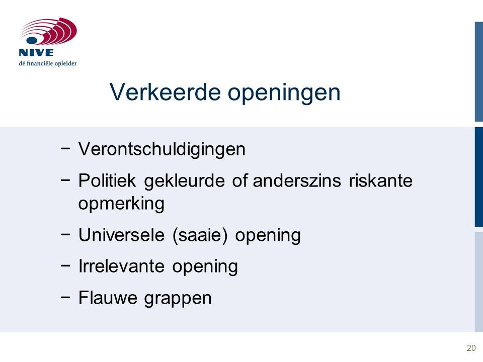 20 Verkeerde openingen −Verontschuldigingen −Politiek gekleurde of anderszins riskante opmerking −Universele (saaie) opening −Irrelevante opening −Fla