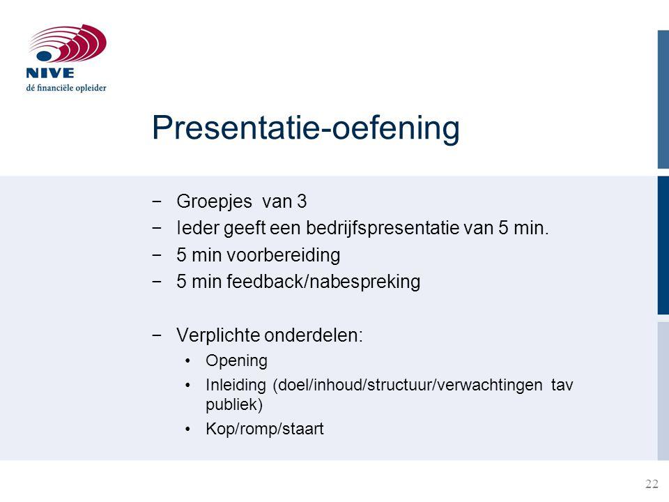 Presentatie-oefening −Groepjes van 3 −Ieder geeft een bedrijfspresentatie van 5 min. −5 min voorbereiding −5 min feedback/nabespreking −Verplichte ond