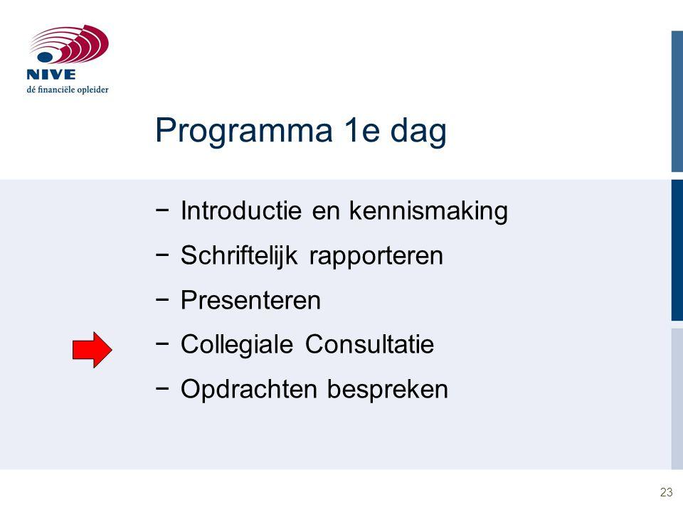23 Programma 1e dag −Introductie en kennismaking −Schriftelijk rapporteren −Presenteren −Collegiale Consultatie −Opdrachten bespreken