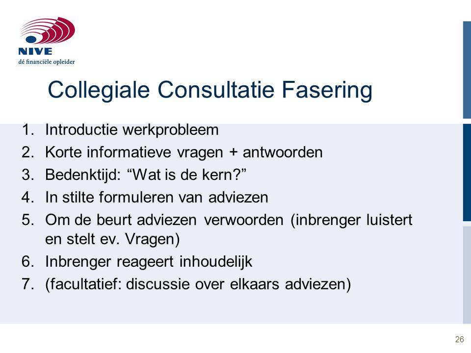 """26 Collegiale Consultatie Fasering 1.Introductie werkprobleem 2.Korte informatieve vragen + antwoorden 3.Bedenktijd: """"Wat is de kern?"""" 4.In stilte for"""