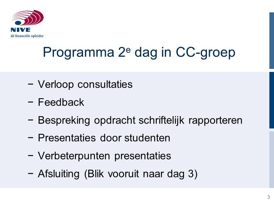 3 Programma 2 e dag in CC-groep −Verloop consultaties −Feedback −Bespreking opdracht schriftelijk rapporteren −Presentaties door studenten −Verbeterpu