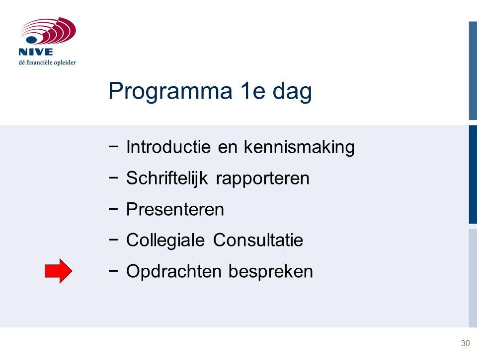 30 Programma 1e dag −Introductie en kennismaking −Schriftelijk rapporteren −Presenteren −Collegiale Consultatie −Opdrachten bespreken