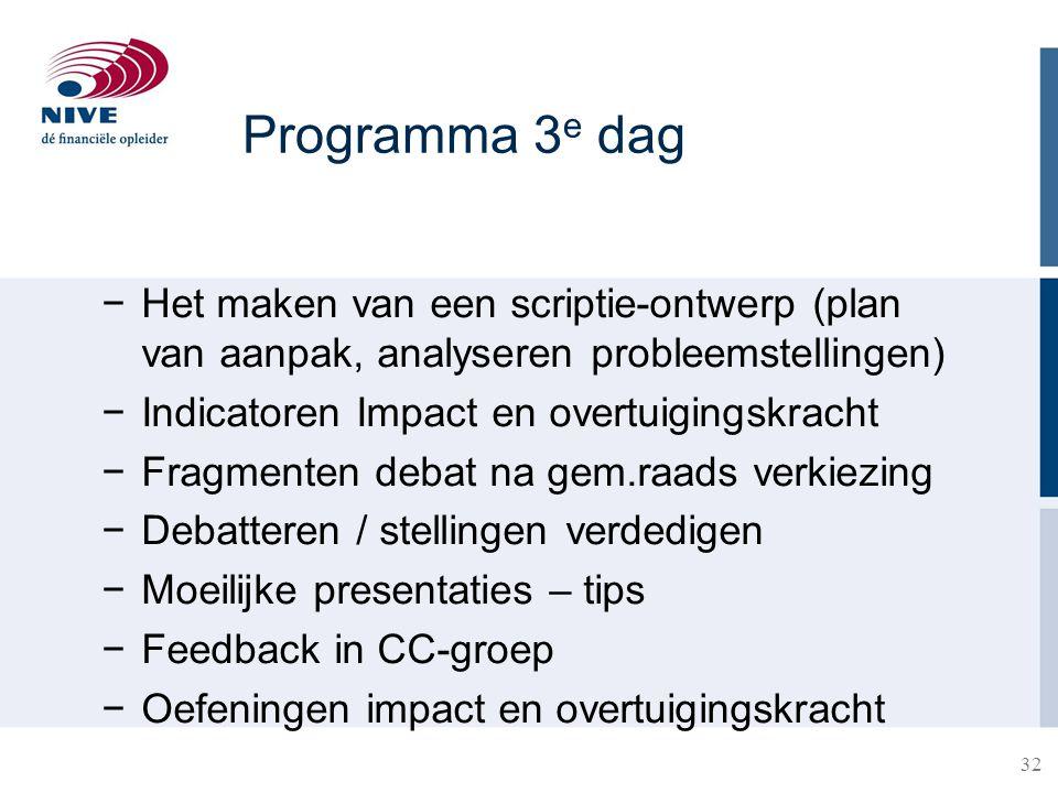 32 Programma 3 e dag −Het maken van een scriptie-ontwerp (plan van aanpak, analyseren probleemstellingen) −Indicatoren Impact en overtuigingskracht −F