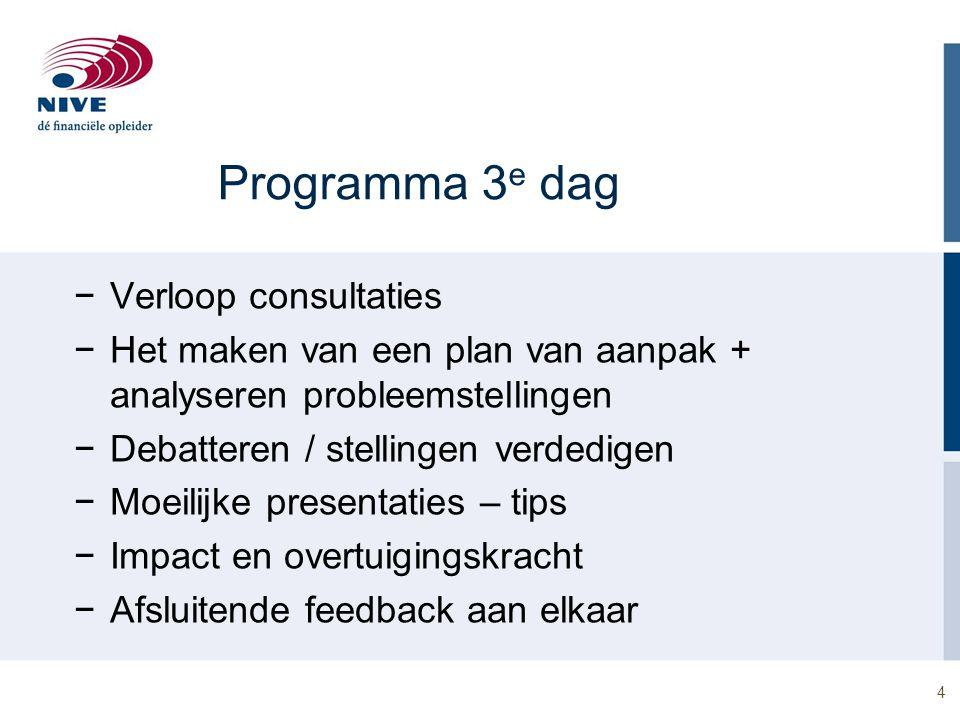 4 Programma 3 e dag −Verloop consultaties −Het maken van een plan van aanpak + analyseren probleemstellingen −Debatteren / stellingen verdedigen −Moei