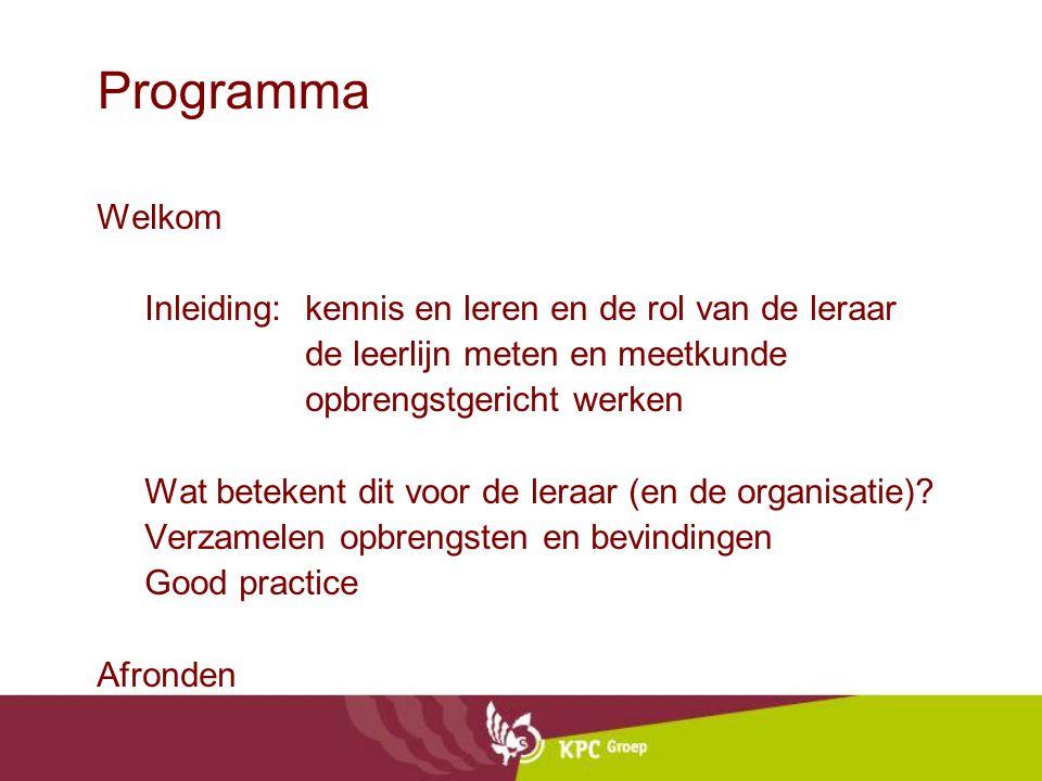 Programma Welkom Inleiding:kennis en leren en de rol van de leraar de leerlijn meten en meetkunde opbrengstgericht werken Wat betekent dit voor de leraar (en de organisatie).