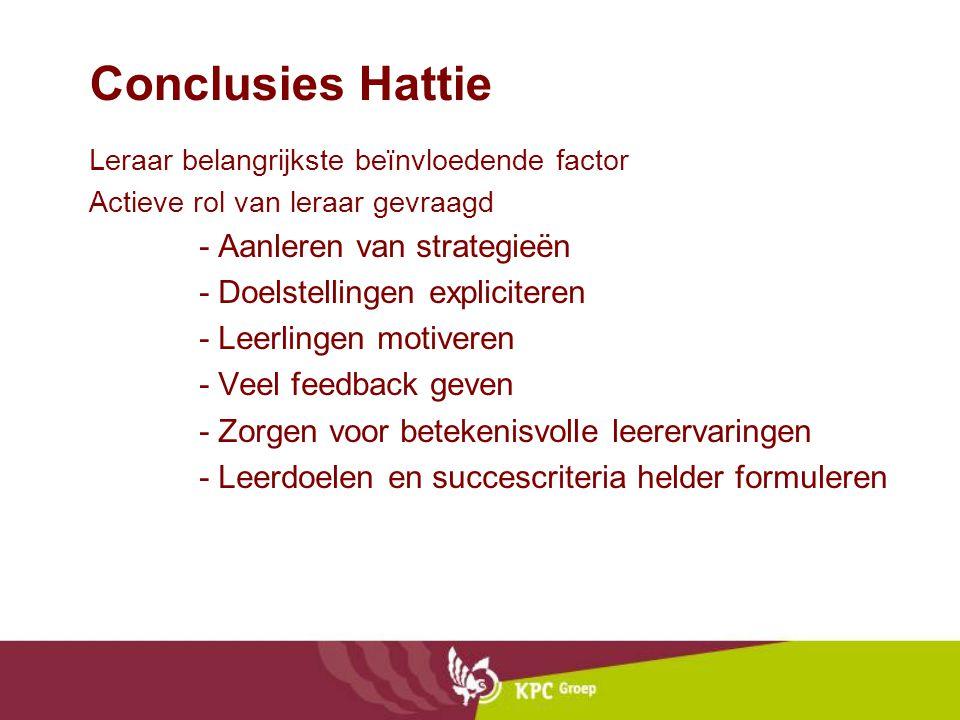 Conclusies Hattie Leraar belangrijkste beïnvloedende factor Actieve rol van leraar gevraagd - Aanleren van strategieën - Doelstellingen expliciteren - Leerlingen motiveren - Veel feedback geven - Zorgen voor betekenisvolle leerervaringen - Leerdoelen en succescriteria helder formuleren