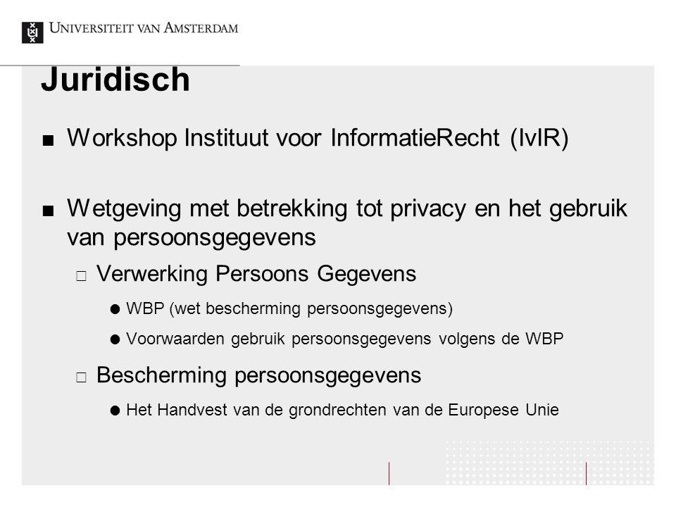 Juridisch Workshop Instituut voor InformatieRecht (IvIR) Wetgeving met betrekking tot privacy en het gebruik van persoonsgegevens  Verwerking Persoon
