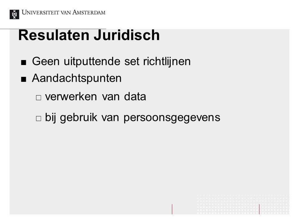 Resulaten Juridisch Geen uitputtende set richtlijnen Aandachtspunten  verwerken van data  bij gebruik van persoonsgegevens