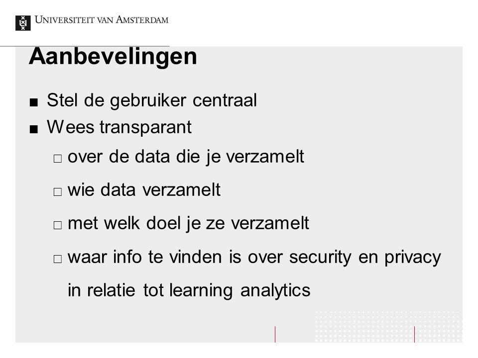 Aanbevelingen Stel de gebruiker centraal Wees transparant  over de data die je verzamelt  wie data verzamelt  met welk doel je ze verzamelt  waar