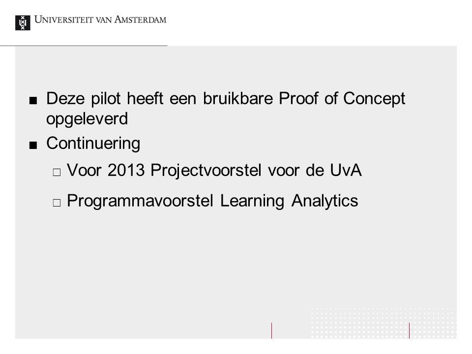 Deze pilot heeft een bruikbare Proof of Concept opgeleverd Continuering  Voor 2013 Projectvoorstel voor de UvA  Programmavoorstel Learning Analytics