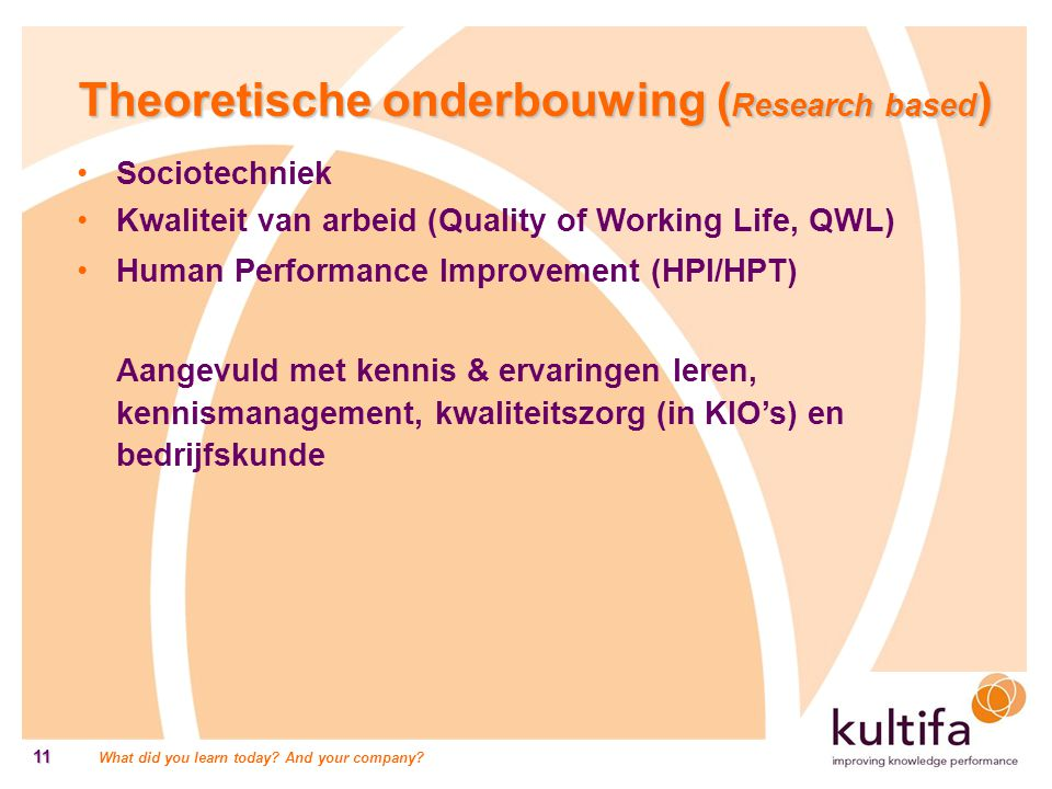 What did you learn today? And your company? 11 Theoretische onderbouwing ( Research based ) Sociotechniek Kwaliteit van arbeid (Quality of Working Lif