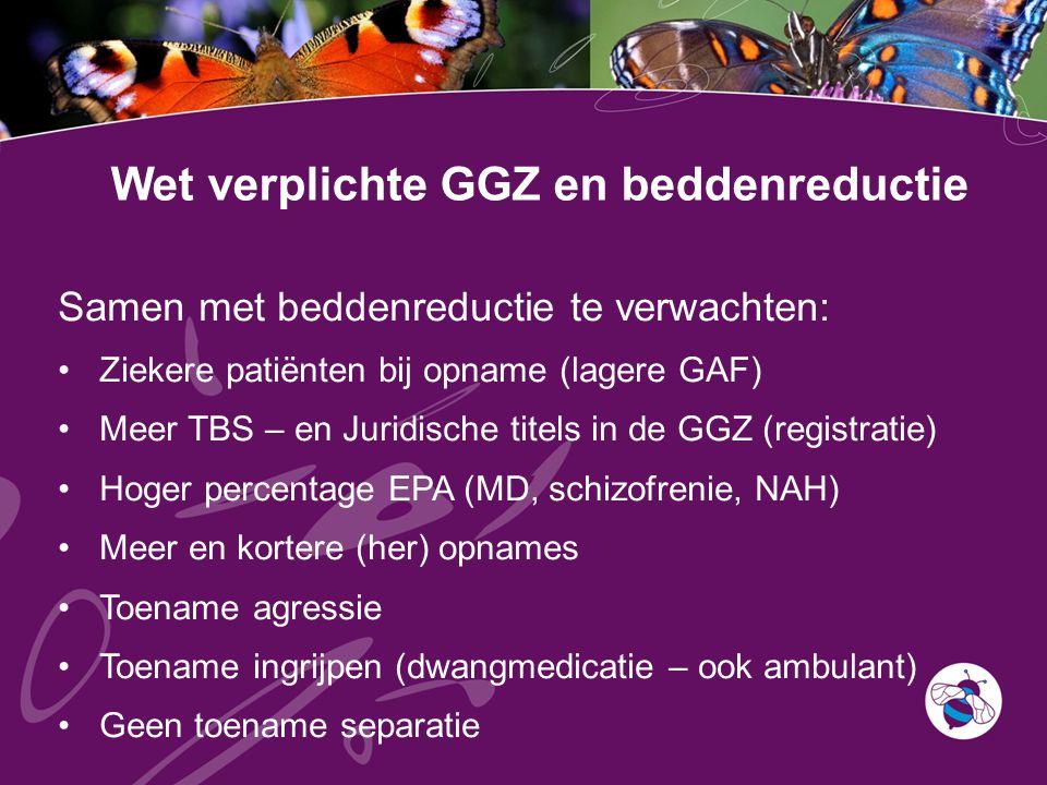 Wet verplichte GGZ en beddenreductie Samen met beddenreductie te verwachten: Ziekere patiënten bij opname (lagere GAF) Meer TBS – en Juridische titels