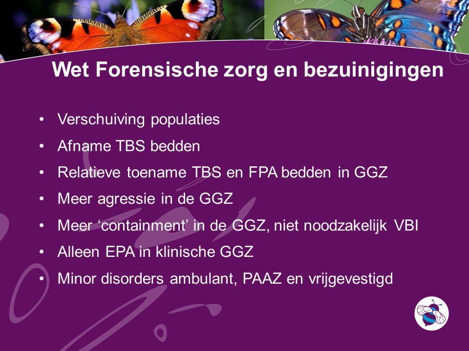 Wet Forensische zorg en bezuinigingen Verschuiving populaties Afname TBS bedden Relatieve toename TBS en FPA bedden in GGZ Meer agressie in de GGZ Meer 'containment' in de GGZ, niet noodzakelijk VBI Alleen EPA in klinische GGZ Minor disorders ambulant, PAAZ en vrijgevestigd