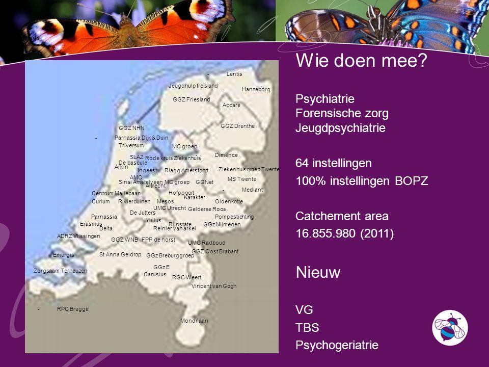 Case register participants -Mediant GGNet -Parnassia Dijk & Duin Oldenkotte GGZ Friesland Gelderse Roos Vincent van Gogh GGZ Oost Brabant GGz E GGZ WN