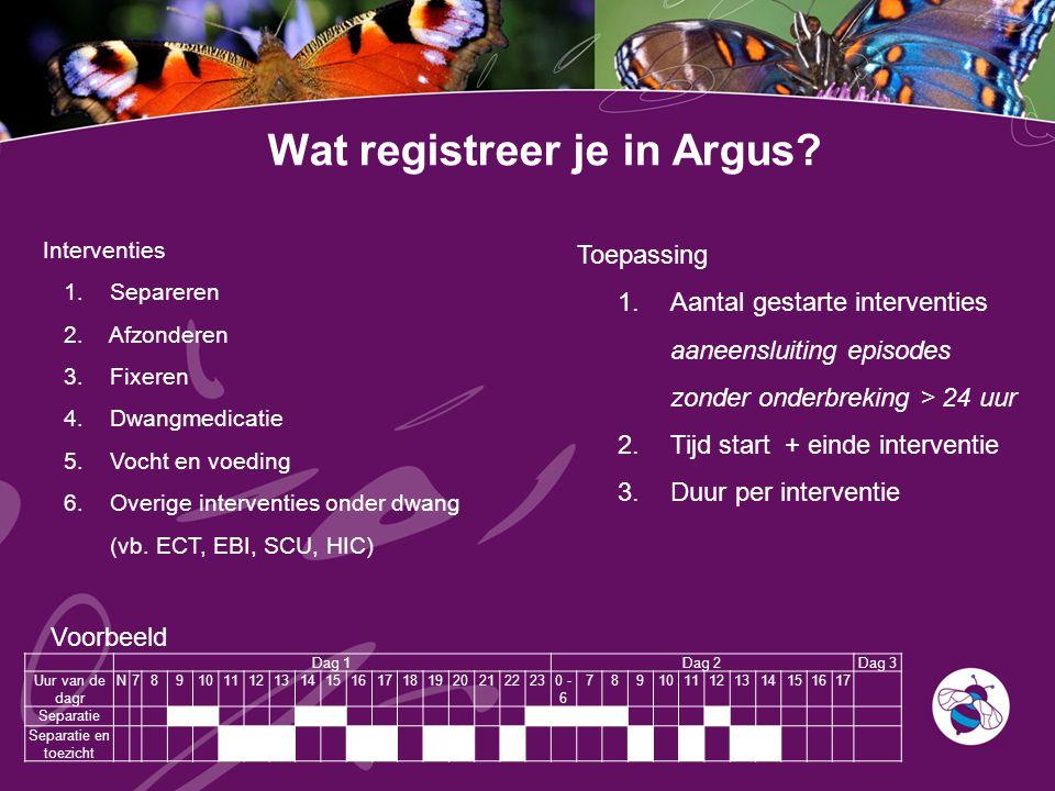 Wat registreer je in Argus? Toepassing 1.Aantal gestarte interventies aaneensluiting episodes zonder onderbreking > 24 uur 2.Tijd start + einde interv