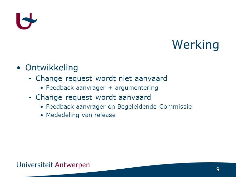 9 Werking Ontwikkeling -Change request wordt niet aanvaard Feedback aanvrager + argumentering -Change request wordt aanvaard Feedback aanvrager en Begeleidende Commissie Mededeling van release