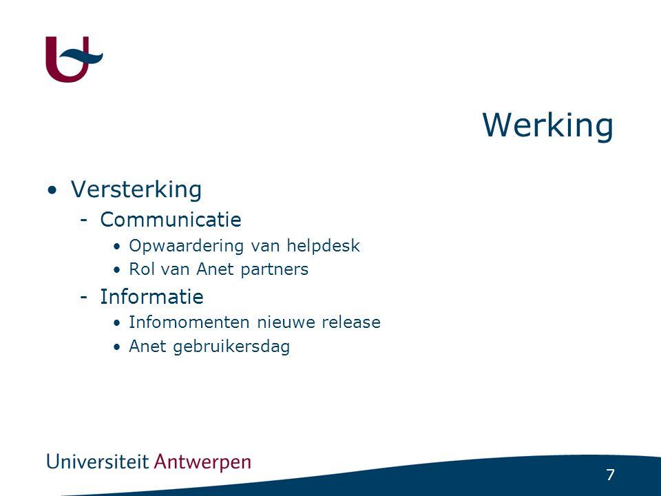 7 Werking Versterking -Communicatie Opwaardering van helpdesk Rol van Anet partners -Informatie Infomomenten nieuwe release Anet gebruikersdag