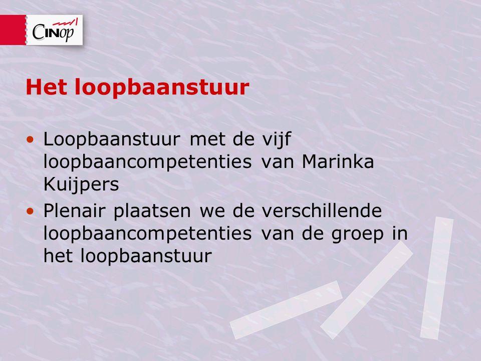Het loopbaanstuur Loopbaanstuur met de vijf loopbaancompetenties van Marinka Kuijpers Plenair plaatsen we de verschillende loopbaancompetenties van de groep in het loopbaanstuur