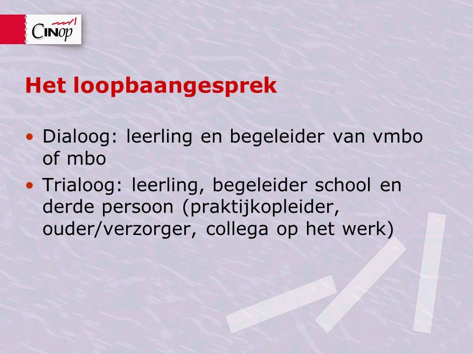 Het loopbaangesprek Dialoog: leerling en begeleider van vmbo of mbo Trialoog: leerling, begeleider school en derde persoon (praktijkopleider, ouder/ve