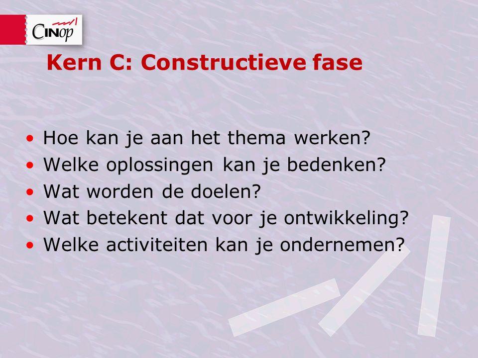 Kern C: Constructieve fase Hoe kan je aan het thema werken? Welke oplossingen kan je bedenken? Wat worden de doelen? Wat betekent dat voor je ontwikke