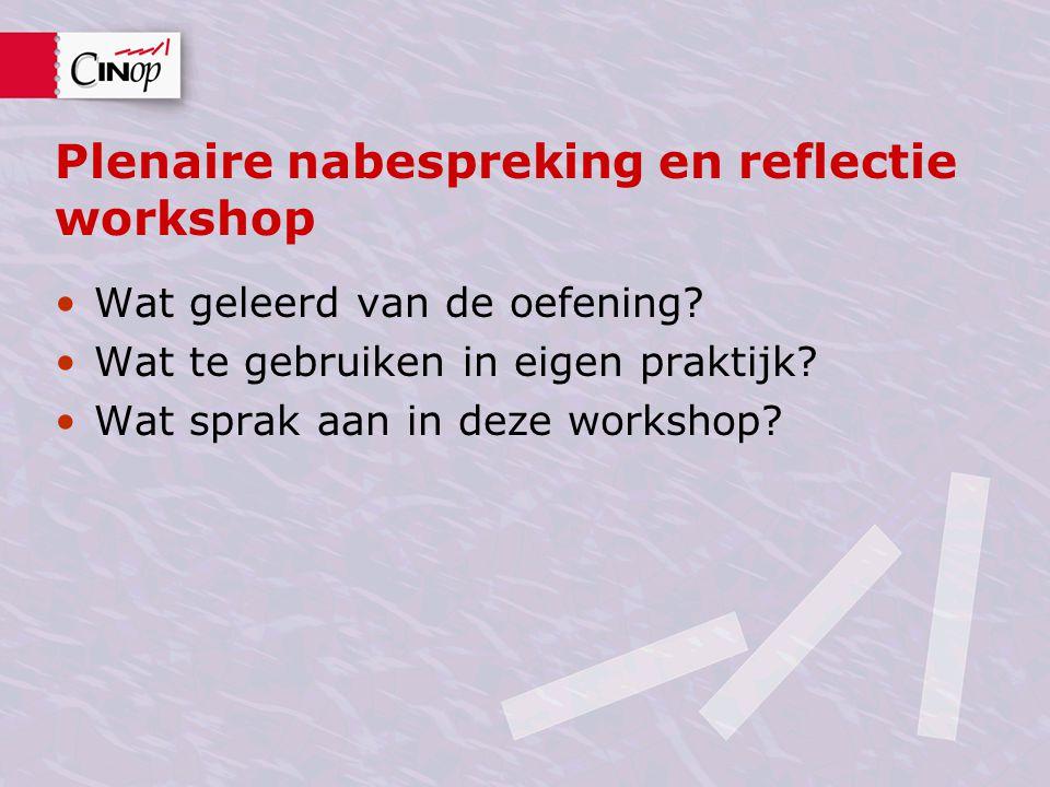 Plenaire nabespreking en reflectie workshop Wat geleerd van de oefening? Wat te gebruiken in eigen praktijk? Wat sprak aan in deze workshop?