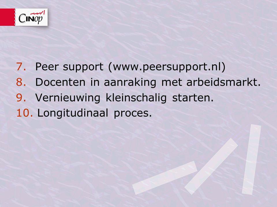 7. Peer support (www.peersupport.nl) 8. Docenten in aanraking met arbeidsmarkt. 9. Vernieuwing kleinschalig starten. 10. Longitudinaal proces.