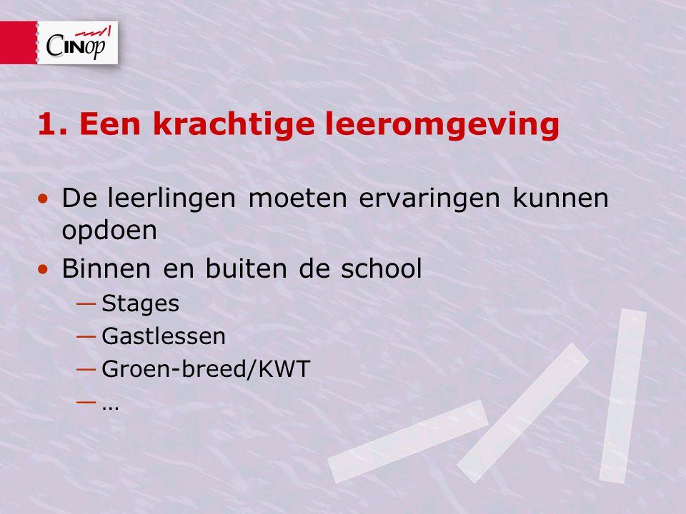 1. Een krachtige leeromgeving De leerlingen moeten ervaringen kunnen opdoen Binnen en buiten de school —Stages —Gastlessen —Groen-breed/KWT —…