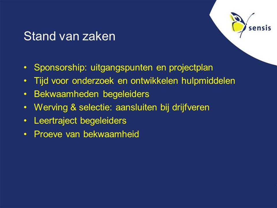 Stand van zaken Sponsorship: uitgangspunten en projectplan Tijd voor onderzoek en ontwikkelen hulpmiddelen Bekwaamheden begeleiders Werving & selectie: aansluiten bij drijfveren Leertraject begeleiders Proeve van bekwaamheid