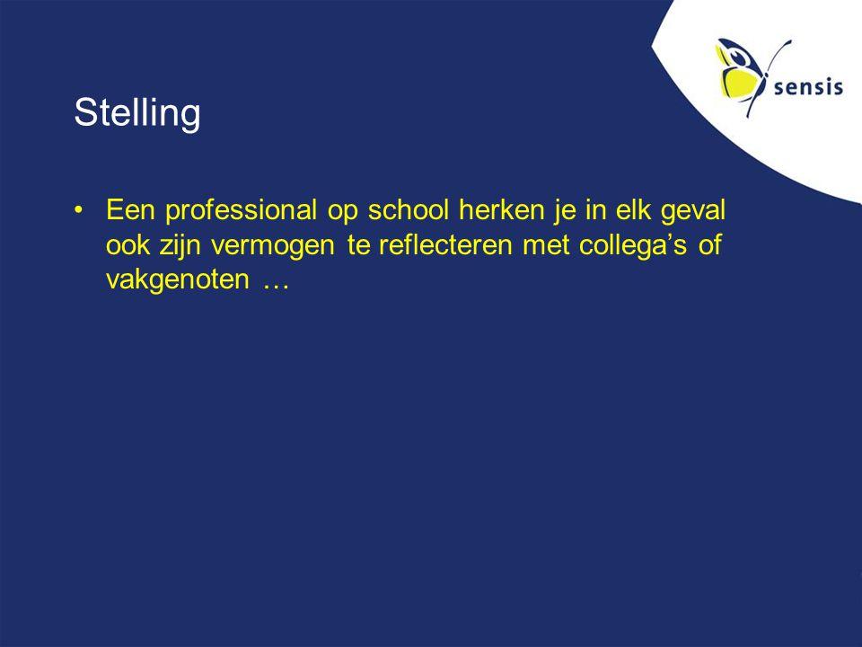 Stelling Een professional op school herken je in elk geval ook zijn vermogen te reflecteren met collega's of vakgenoten …