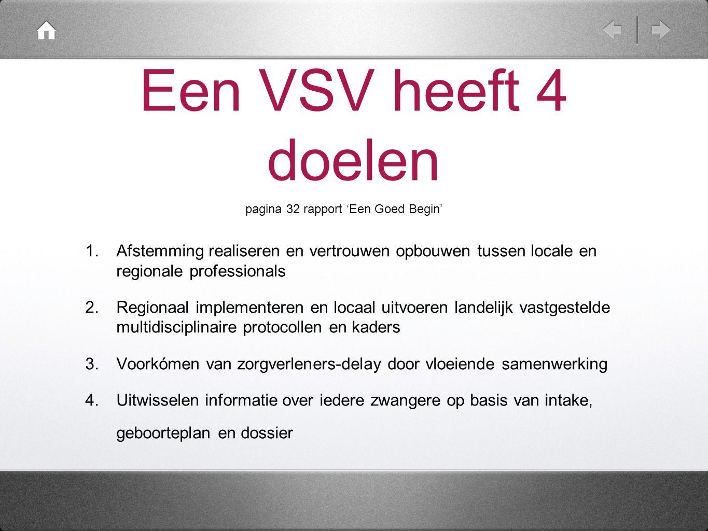 Een VSV heeft 4 doelen 1. Afstemming realiseren en vertrouwen opbouwen tussen locale en regionale professionals 2. Regionaal implementeren en locaal u