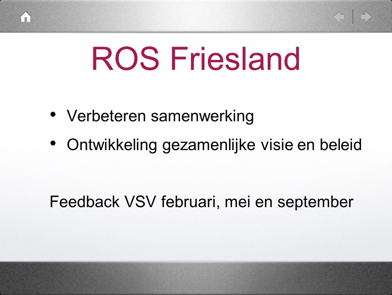 ROS Friesland Verbeteren samenwerking Ontwikkeling gezamenlijke visie en beleid Feedback VSV februari, mei en september