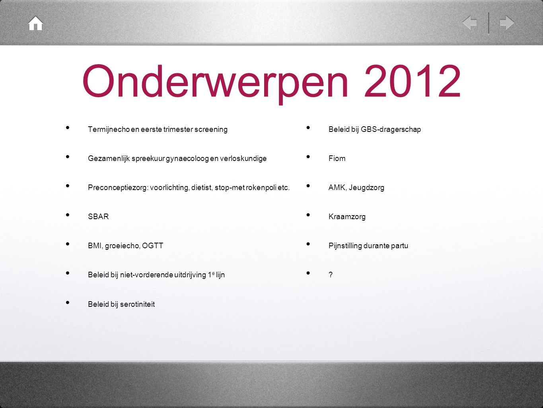 Onderwerpen 2012 Termijnecho en eerste trimester screening Gezamenlijk spreekuur gynaecoloog en verloskundige Preconceptiezorg: voorlichting, dietist,