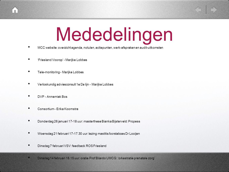 Mededelingen MCC website: overzicht agenda, notulen, actiepunten, werk-afspraken en audit-uitkomsten 'Friesland Voorop' - Marijke Lobbes Tele-monitori