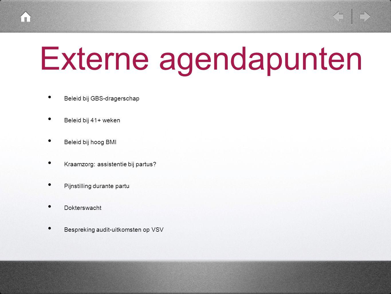 Externe agendapunten Beleid bij GBS-dragerschap Beleid bij 41+ weken Beleid bij hoog BMI Kraamzorg: assistentie bij partus? Pijnstilling durante partu