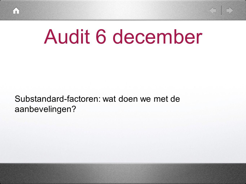 Audit 6 december Substandard-factoren: wat doen we met de aanbevelingen?