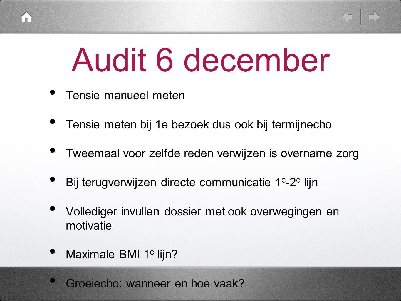 Audit 6 december Tensie manueel meten Tensie meten bij 1e bezoek dus ook bij termijnecho Tweemaal voor zelfde reden verwijzen is overname zorg Bij ter
