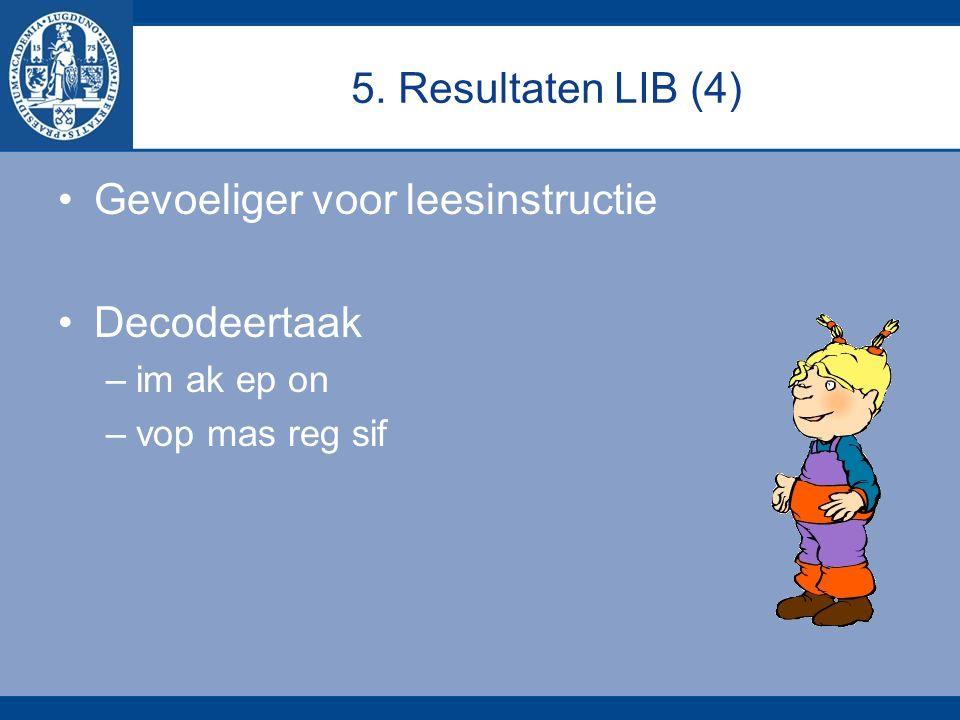 5. Resultaten LIB (4) Gevoeliger voor leesinstructie Decodeertaak –im ak ep on –vop mas reg sif