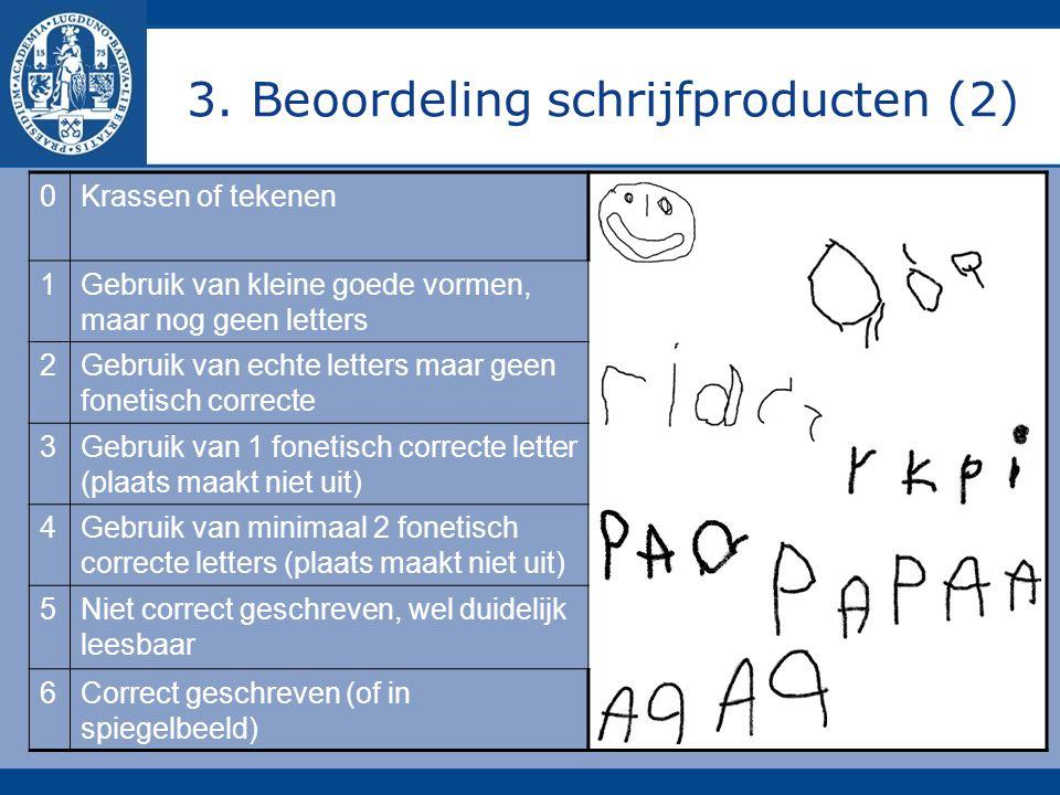 3. Beoordeling schrijfproducten (2) 0Krassen of tekenen 1Gebruik van kleine goede vormen, maar nog geen letters 2Gebruik van echte letters maar geen f