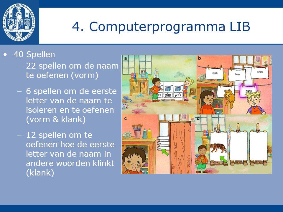 4. Computerprogramma LIB 40 Spellen − 22 spellen om de naam te oefenen (vorm) − 6 spellen om de eerste letter van de naam te isoleren en te oefenen (v