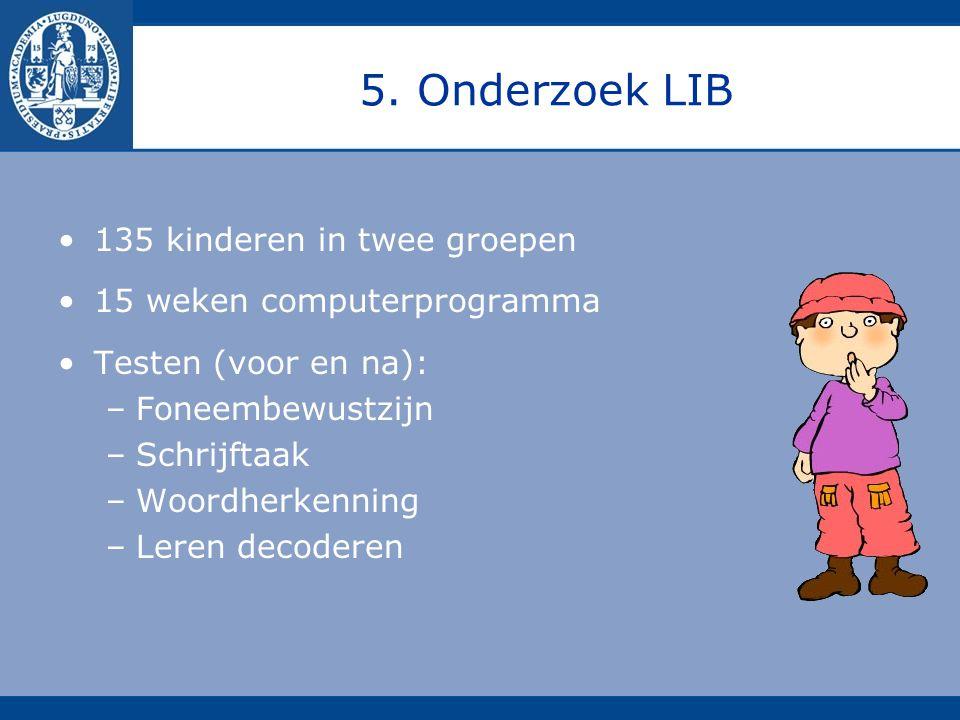 5. Onderzoek LIB 135 kinderen in twee groepen 15 weken computerprogramma Testen (voor en na): –Foneembewustzijn –Schrijftaak –Woordherkenning –Leren d