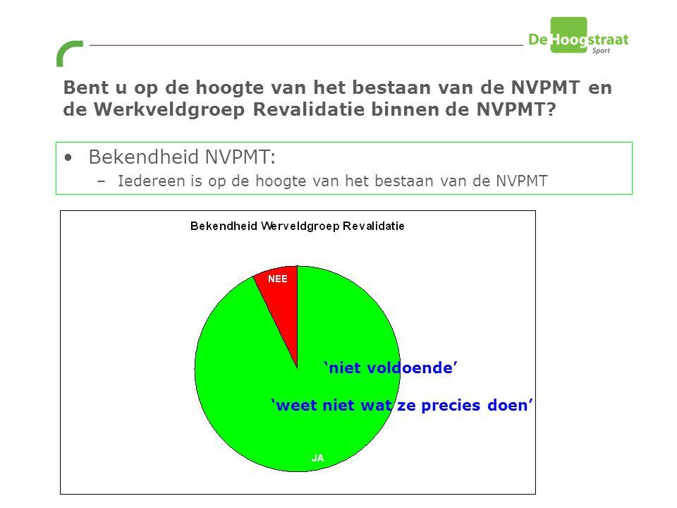 Bent u op de hoogte van het bestaan van de NVPMT en de Werkveldgroep Revalidatie binnen de NVPMT.
