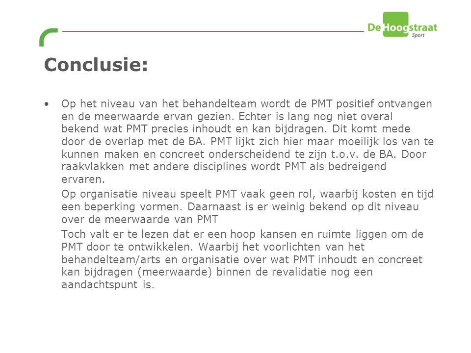 Conclusie: Op het niveau van het behandelteam wordt de PMT positief ontvangen en de meerwaarde ervan gezien.