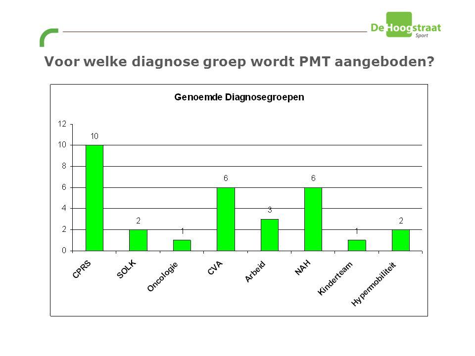 Voor welke diagnose groep wordt PMT aangeboden?
