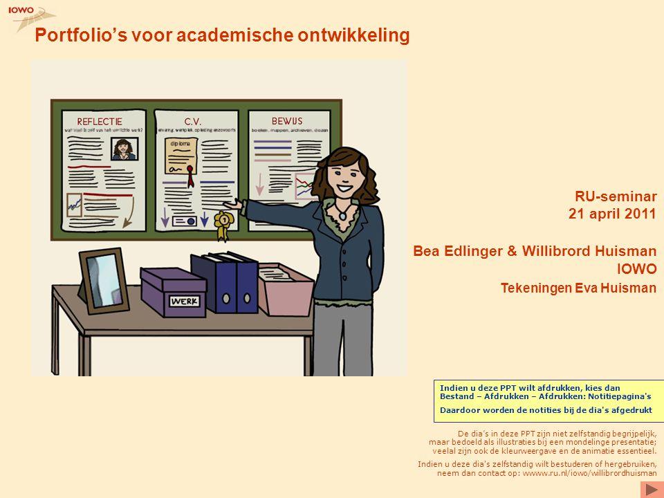 Portfolio's voor academische ontwikkeling RU-seminar 21 april 2011 Bea Edlinger & Willibrord Huisman IOWO Tekeningen Eva Huisman De dia's in deze PPT