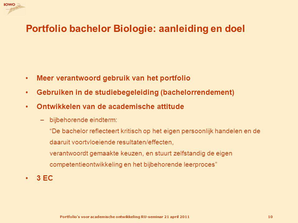 Portfolio's voor academische ontwikkeling RU-seminar 21 april 201110 Portfolio bachelor Biologie: aanleiding en doel Meer verantwoord gebruik van het