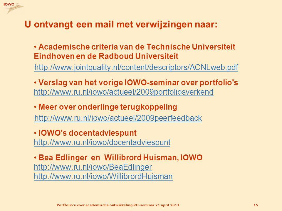 Portfolio's voor academische ontwikkeling RU-seminar 21 april 201115 U ontvangt een mail met verwijzingen naar: Academische criteria van de Technische