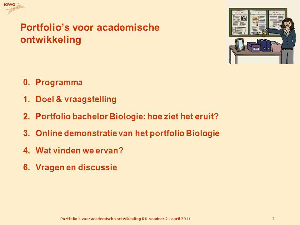 Portfolio's voor academische ontwikkeling RU-seminar 21 april 20112 Portfolio's voor academische ontwikkeling 0.Programma 1.Doel & vraagstelling 2.Por