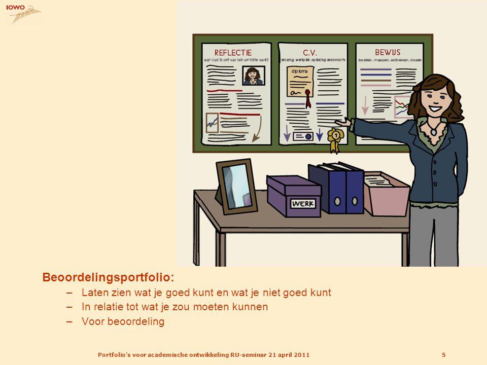 Portfolio's voor academische ontwikkeling RU-seminar 21 april 20115 Beoordelingsportfolio: –Laten zien wat je goed kunt en wat je niet goed kunt –In r